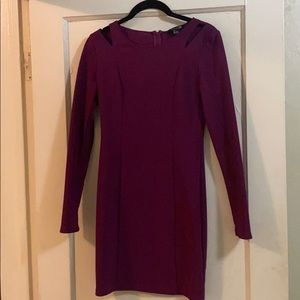 Long sleeve fitted purple dress